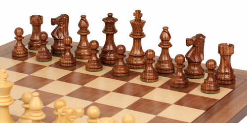 """French Lardy Staunton Chess Pieces Set with 82mm (3.25"""") King in Golden Rosewood"""
