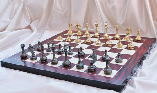 "New Sleek and Modern Solid Brass Luxury Chess Set with 95mm (3.75"") King, Chess Board & Leather Case"