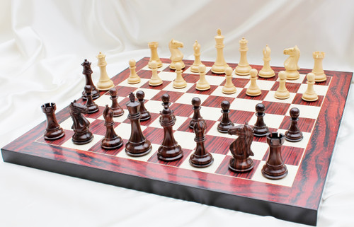 "Supreme Grand Master Staunton Luxury Chess Set with 102mm (4.00"") King in Rosewood, Chess Board & Leather Case"