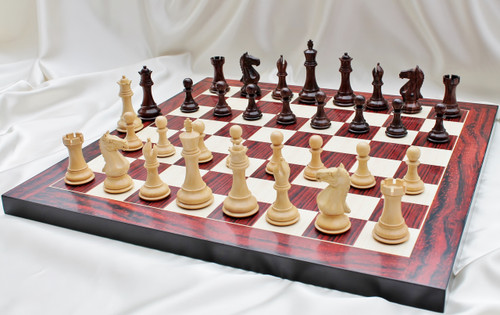"""Supreme Grand Master Staunton Luxury Chess Set with 102mm (4.00"""") King in Rosewood, Chess Board & Leather Case"""