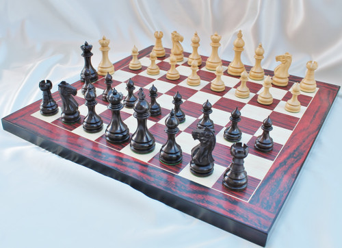 """The Grand Taj Mahal Staunton Luxury Chess Set with 108mm (4.25"""") King in Rosewood, Chess Board & Leather Case"""