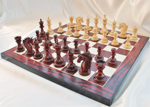 "The Centurion Knight Staunton Chess Pieces Set with 114mm (4.5"") King in African Padauk"