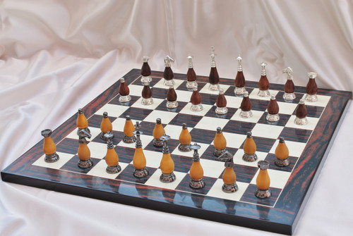 "Casablanca Classic Brass & Wood Modern Luxury Chess Set with 89mm (3.5"") King, Chess Board & Leather Case"