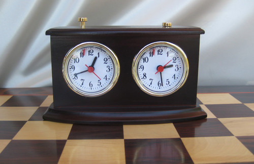 New Release Analogue Chess Match Clock - DARK RED WOOD