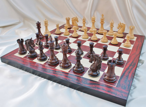 """Sir Galahad Knight Staunton Luxury Chess Set with 108mm (4.25"""") King in Rosewood, Chess Board & Leather Case"""