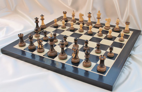 """New Release Burnt Grand Master Classic Staunton Chess Set with 102mm (4.00"""") King, Chess Board"""