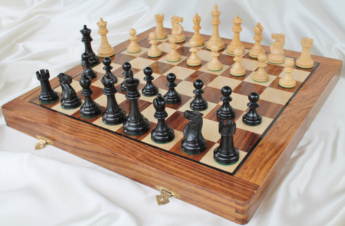 """Jaques of London Staunton Chess Set with 95mm (3.75"""") King in Antique Black, 46cm (18"""") Folding Chess Board/Case"""