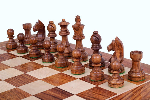 "Championship German Staunton Chess Pieces Set with 95mm (3.75"") King in Golden Rosewood"