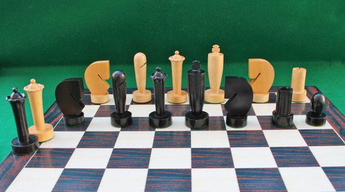 "Hans Berliner Contemporary Chess Pieces Set with 95mm (3.75"") King in Ebonised Boxwood"