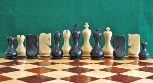 "The Antique Modern Design Hour Glass Chess Pieces Set with 95mm (3.75"") King in Antique Black"