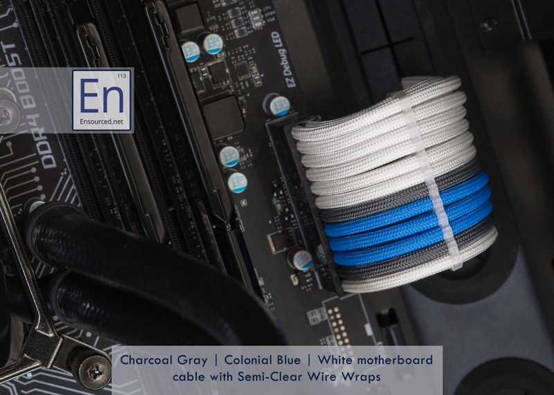 Charcoal Gray   Colonial Blue   White color combo with Semi-Clear Wire Wraps