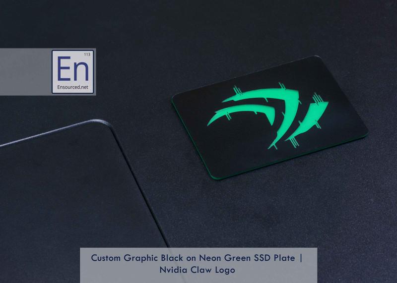 Black on Neon Green Custom SSD Plate   Nvidia Claw Logo