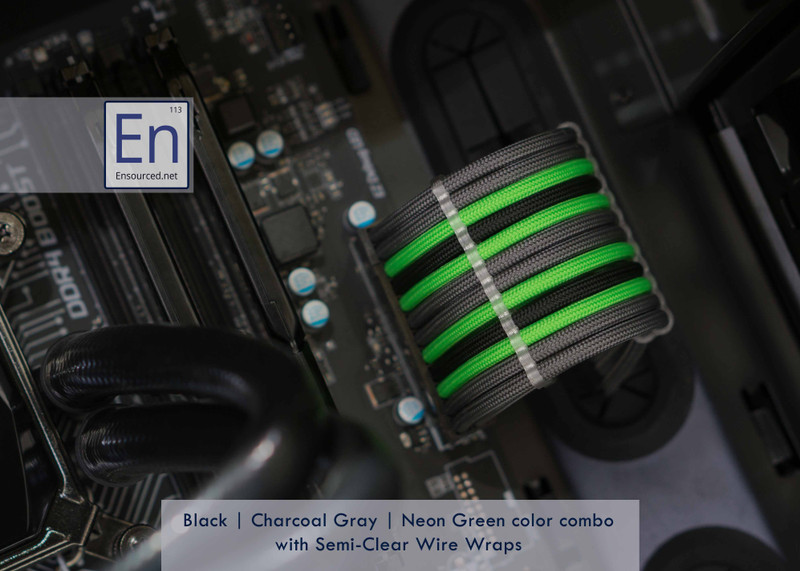 Black | Charcoal Gray | Neon Green color combo with Semi-Clear Wire Wraps