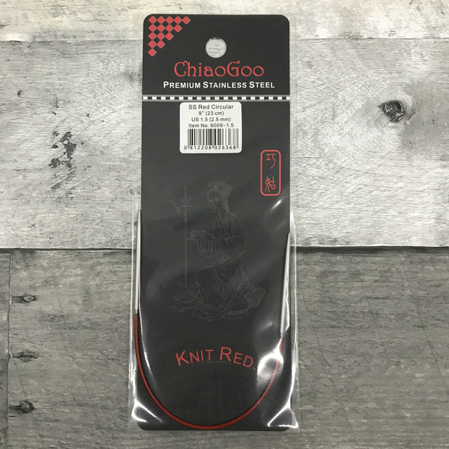 ChiaoGoo Red Circular 9 inch Knitting Needle (Choose Size)