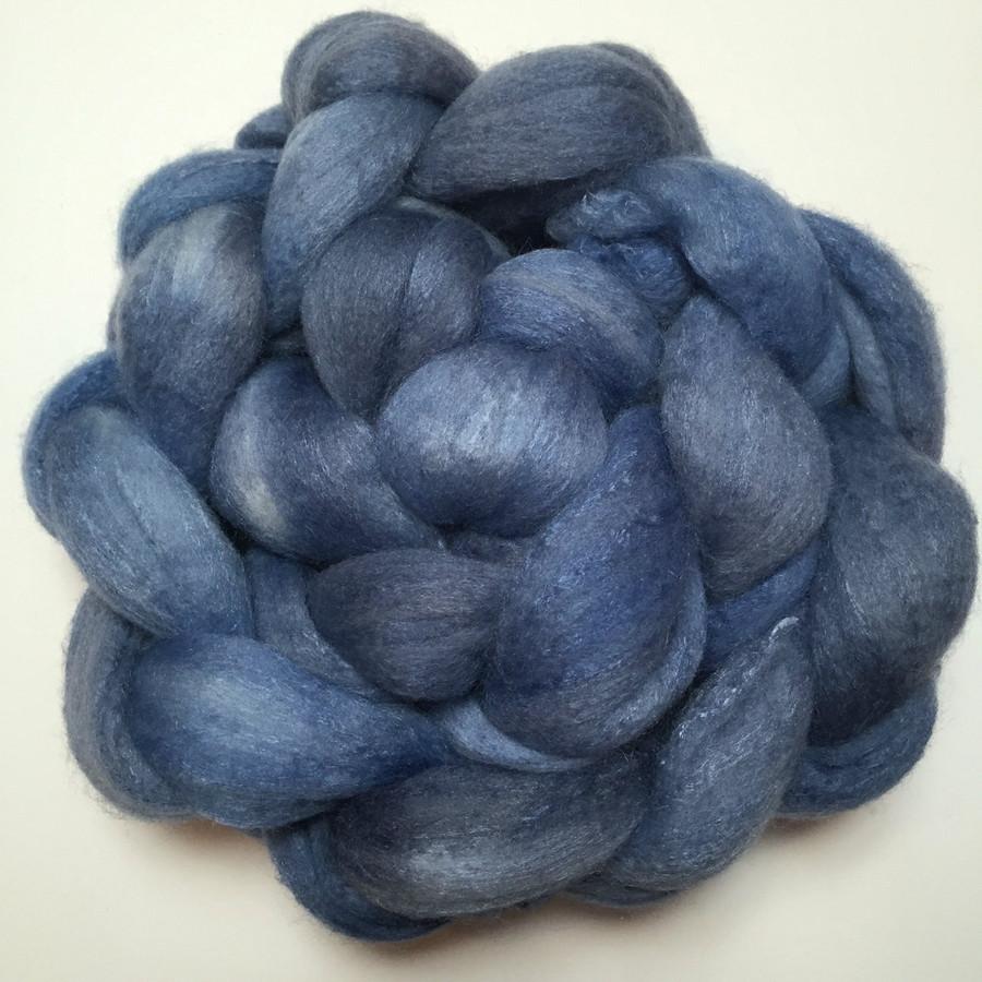 """Favorite Blue Jeans"" Handpainted Polwarth/Silk Top (4oz)"
