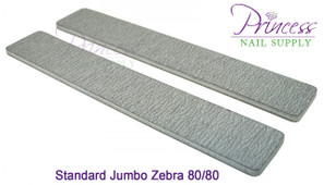 Princess Nail Files, 50 per pack - Jumbo Zebra - Grit options