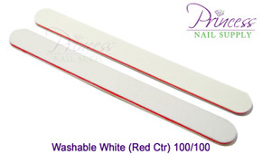 Princess Nail Files, 50 per pack - Washable White/Red, Grit: 100/100(#20097)