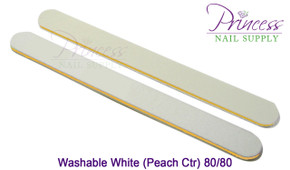 Princess Nail Files, 50 per pack - Washable White/Peach, Grit: 80/80(#20490)