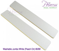 Princess Nail Files, 50 per pack - Washable Jumbo White/Peach, Grit: 80/80(#20499)