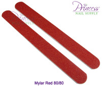 Princess Nail Files, 50 per pack - Mylar Red, Grit: 80/80(#10330)