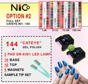 NICo Cateye 3D Gel Polish DEAL #2 - BUY 144 Cateye Gel .5 oz + 10 Base Coats + 10 Top Coats + 5 Magnets + 2 PND DR-6361 LED LAMPS