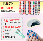Option 1: 36 Cateye .5oz + 3 Base + 3 Top + 6 Magnet + 1 IBE LED/UV Lamp 48W