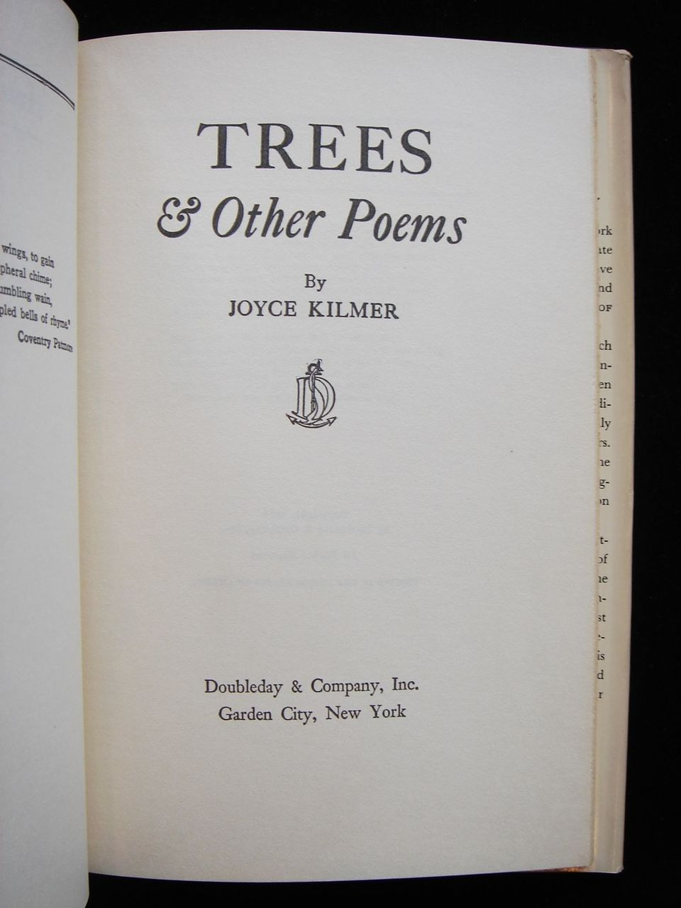 TREES & OTHER POEMS, by Joyce Kilmer - 1914