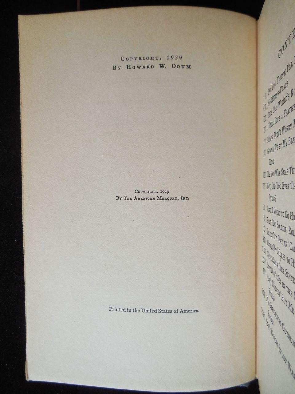 WINGS ON MY FEET, BLACK ULYSSES, by Howard W Odum -1929 [SIGNED 1st Ed ]
