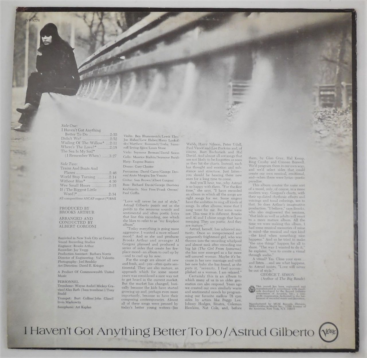 LP: ASTRUD GILBERTO - I Haven't Got Anything Better To Do - 1969