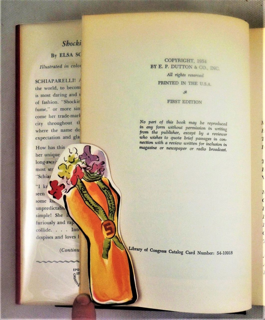 SHOCKING LIFE, by Elsa Schiaparelli -1954 [1st Ed w/Rare PUBLISHER's BOOKMARK]