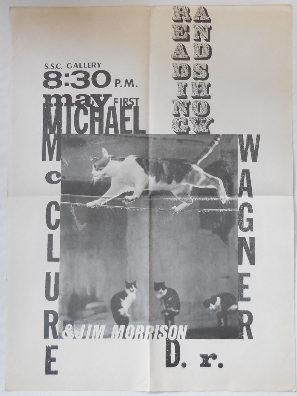 ORIGINAL OFFSET POSTER: Jim Morrison, Michael McClure, D.R. Wagner - May 1, 1969 Reading & Show