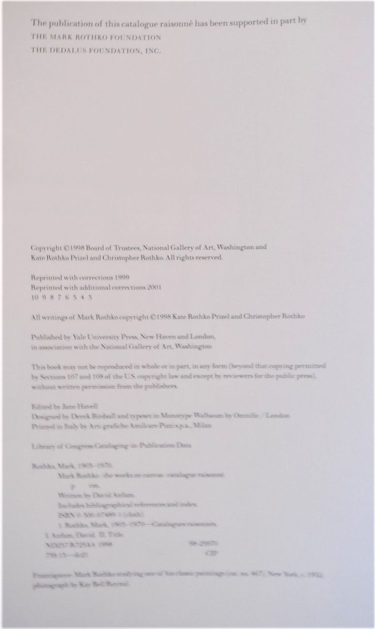 MARK ROTHKO: WORKS ON CANVAS, by David Anfam - 1998 [Catalogue Raisonne]