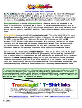 Heat Transfer Paper Sampler pack - 100 sheets