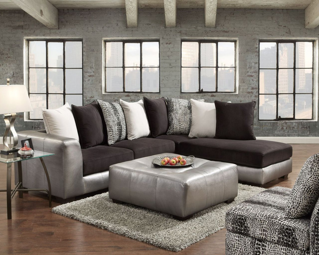2PC SECTIONAL SHIMMER PEWTER