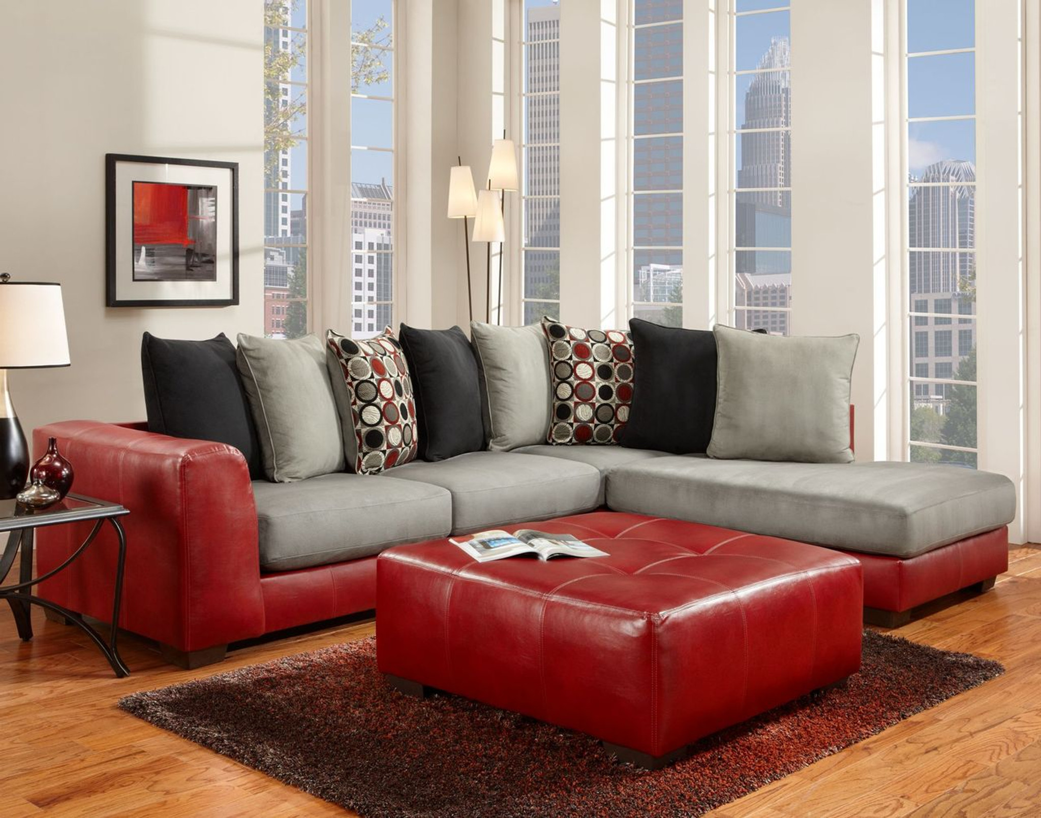 2PC SECTIONAL SIERRA RED
