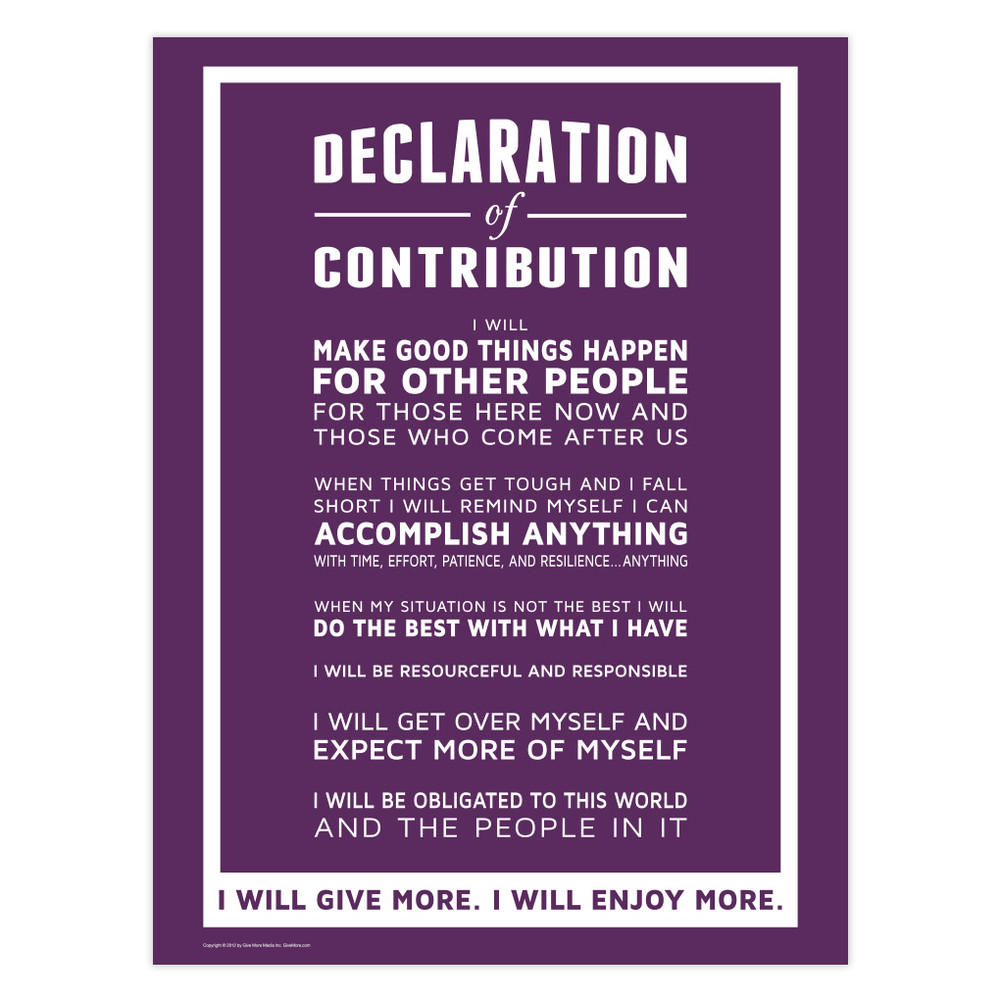 Declaration of Contribution 18 in. x 24 in. Poster (purple)
