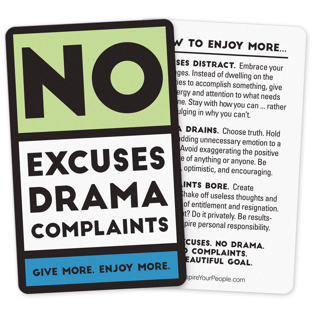 No Excuses, Drama, Complaints Pocket Cards (10 pack) - Green
