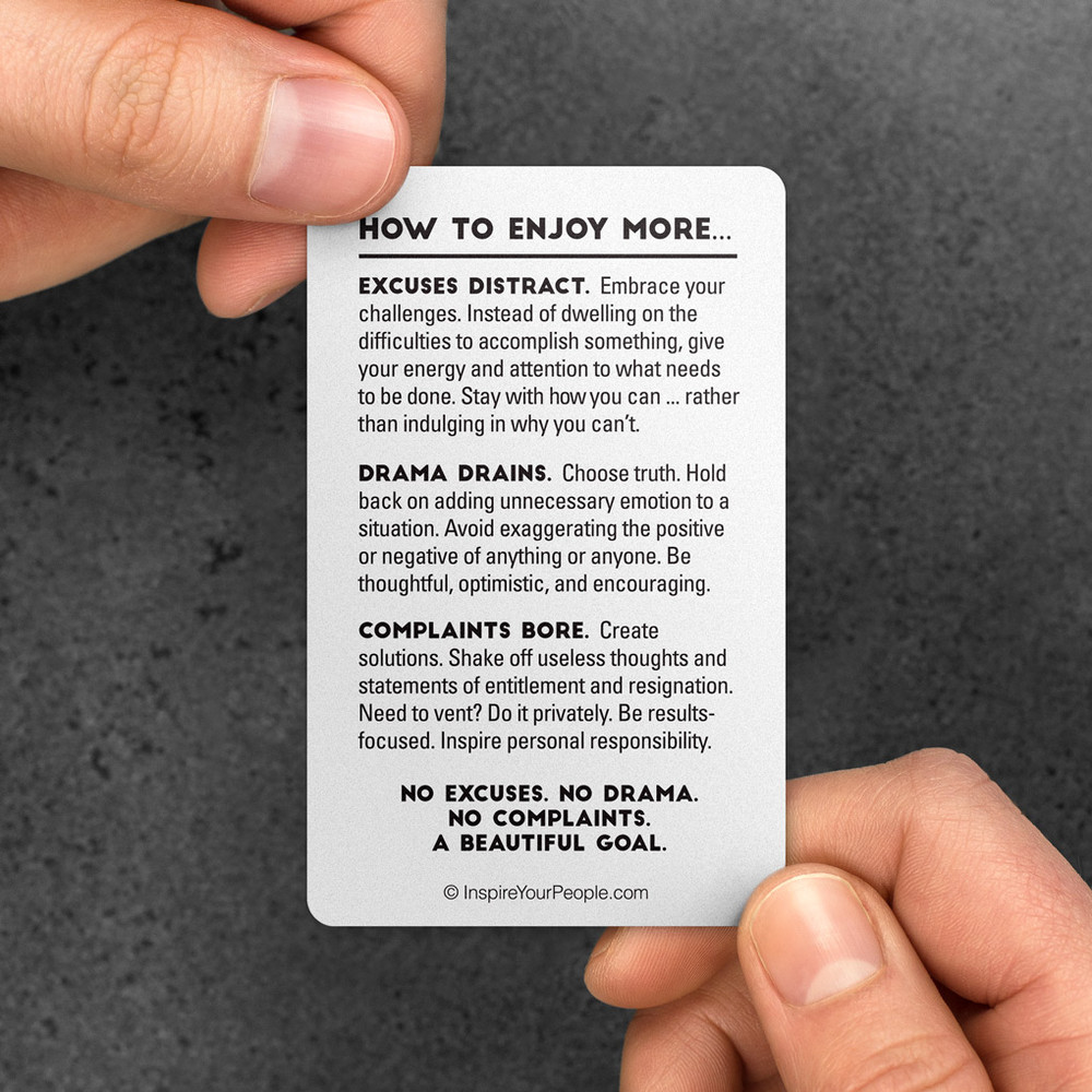 No Excuses, Drama, Complaints Pocket Cards (10 pack) - Red