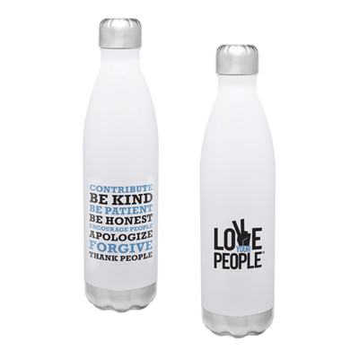 Love Your People Stainless Steel Bottle (17oz White Gloss)