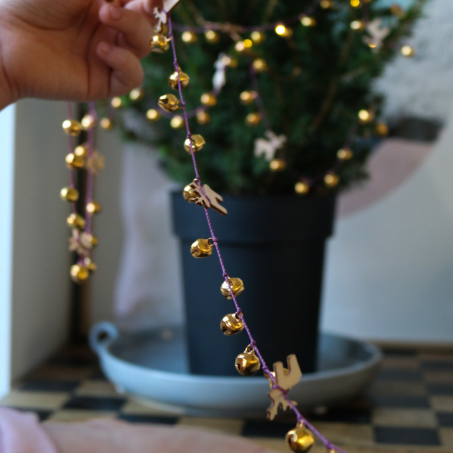 Christmas Garland, gold bells