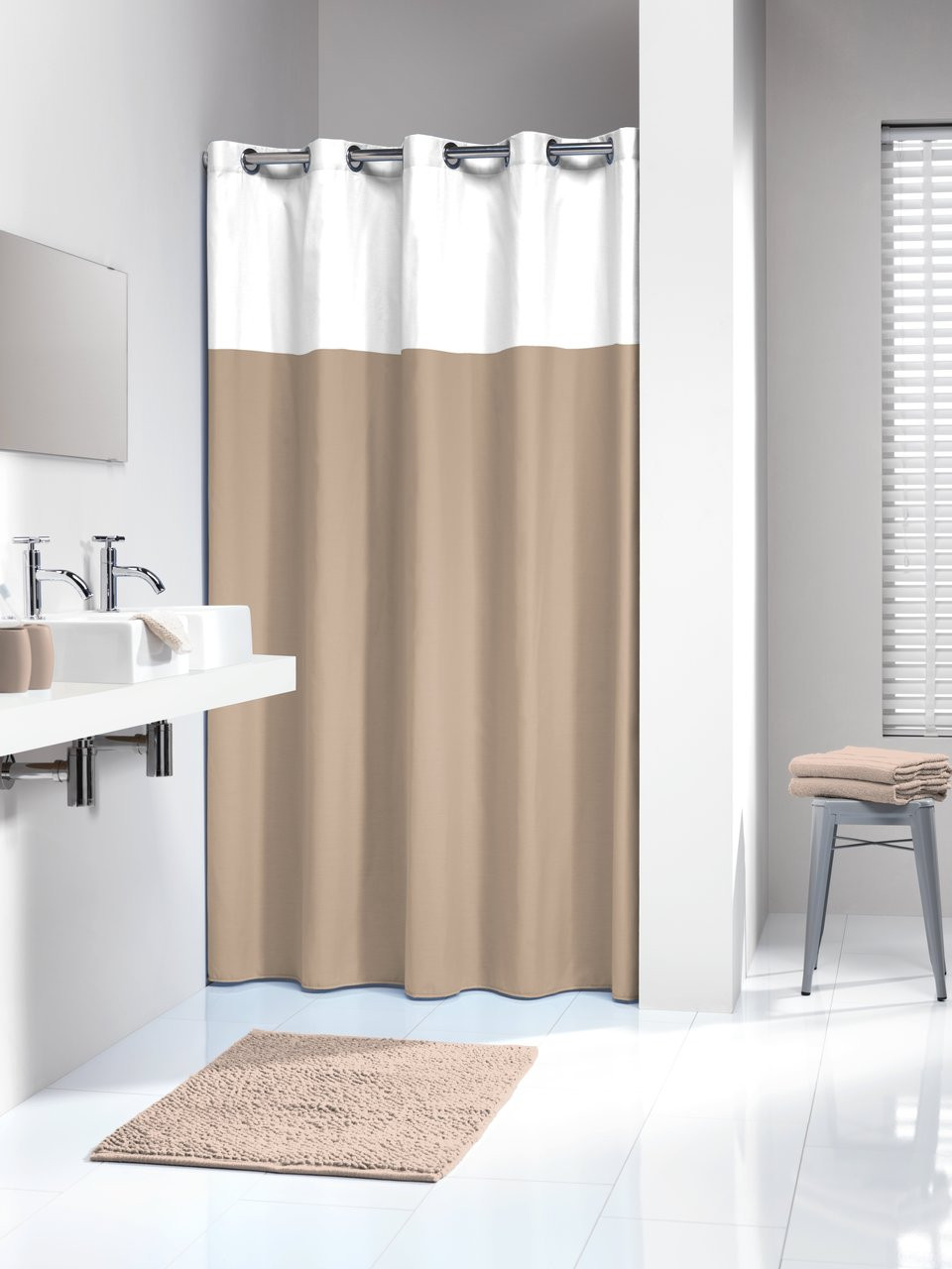 waterproof luxury patterned chic beige curtain shabby shower p