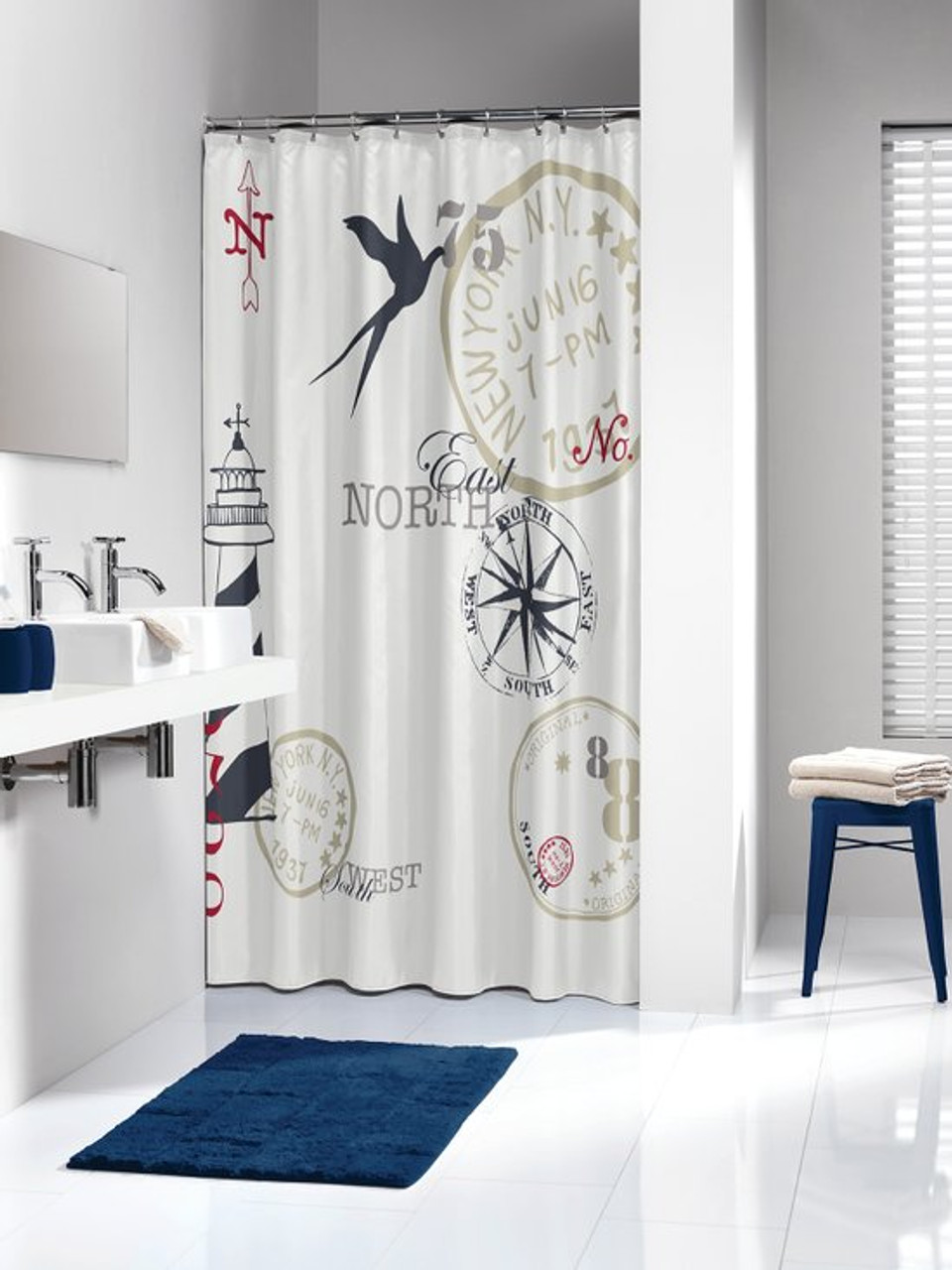 Extra Long Shower Curtain 72 x 78 Inch Sealskin Faro Nautic Print Fabric