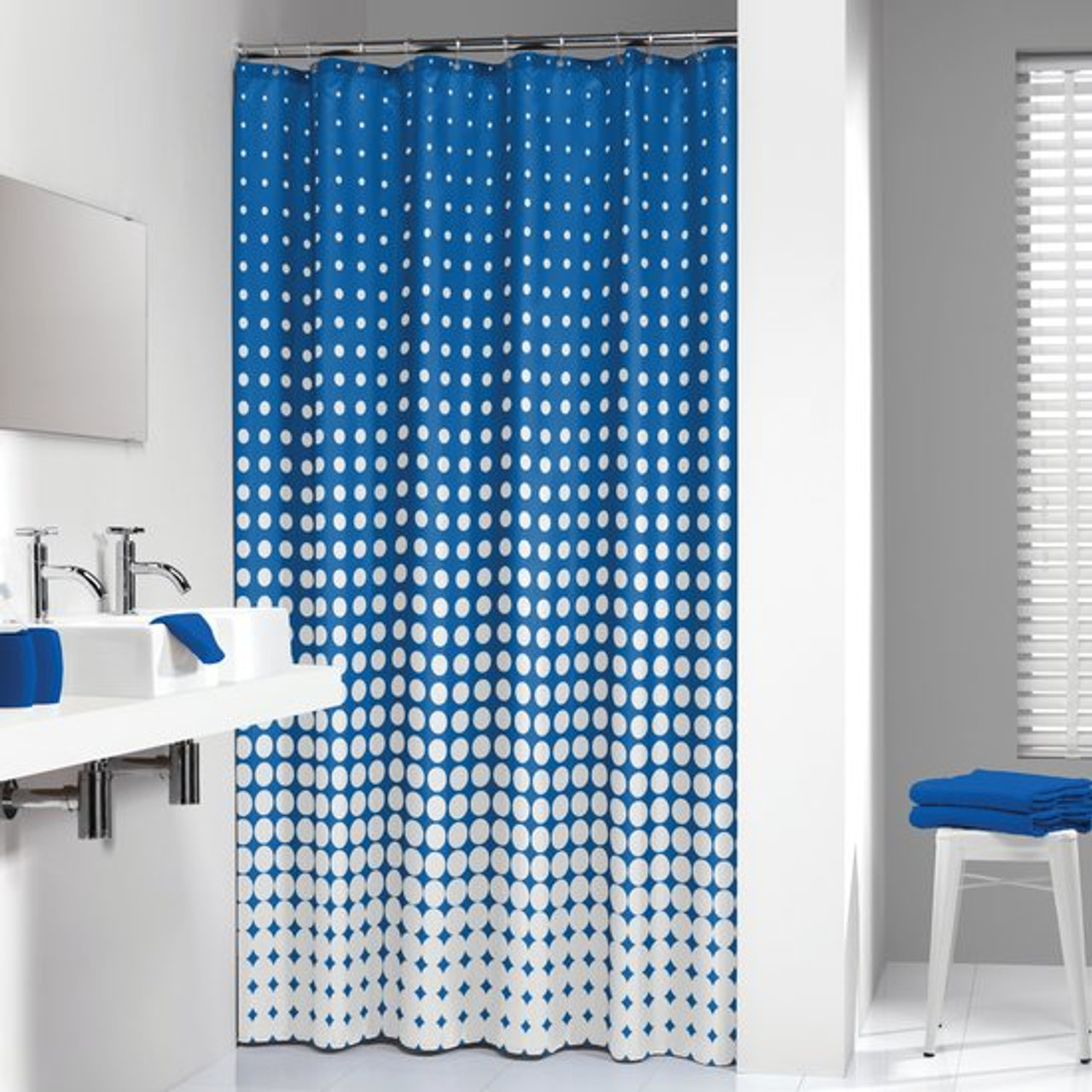 Shower Curtain Sealskin Speckles Blue Fabric