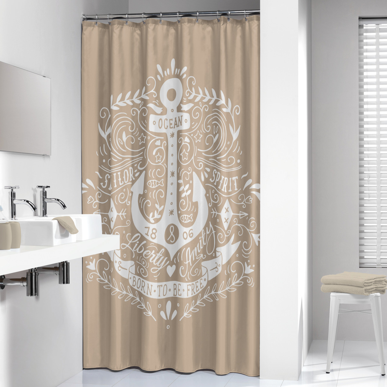 Superieur Extra Long Shower Curtain 72 X 78 Inch Sealskin Anchor Beige And White  Fabric