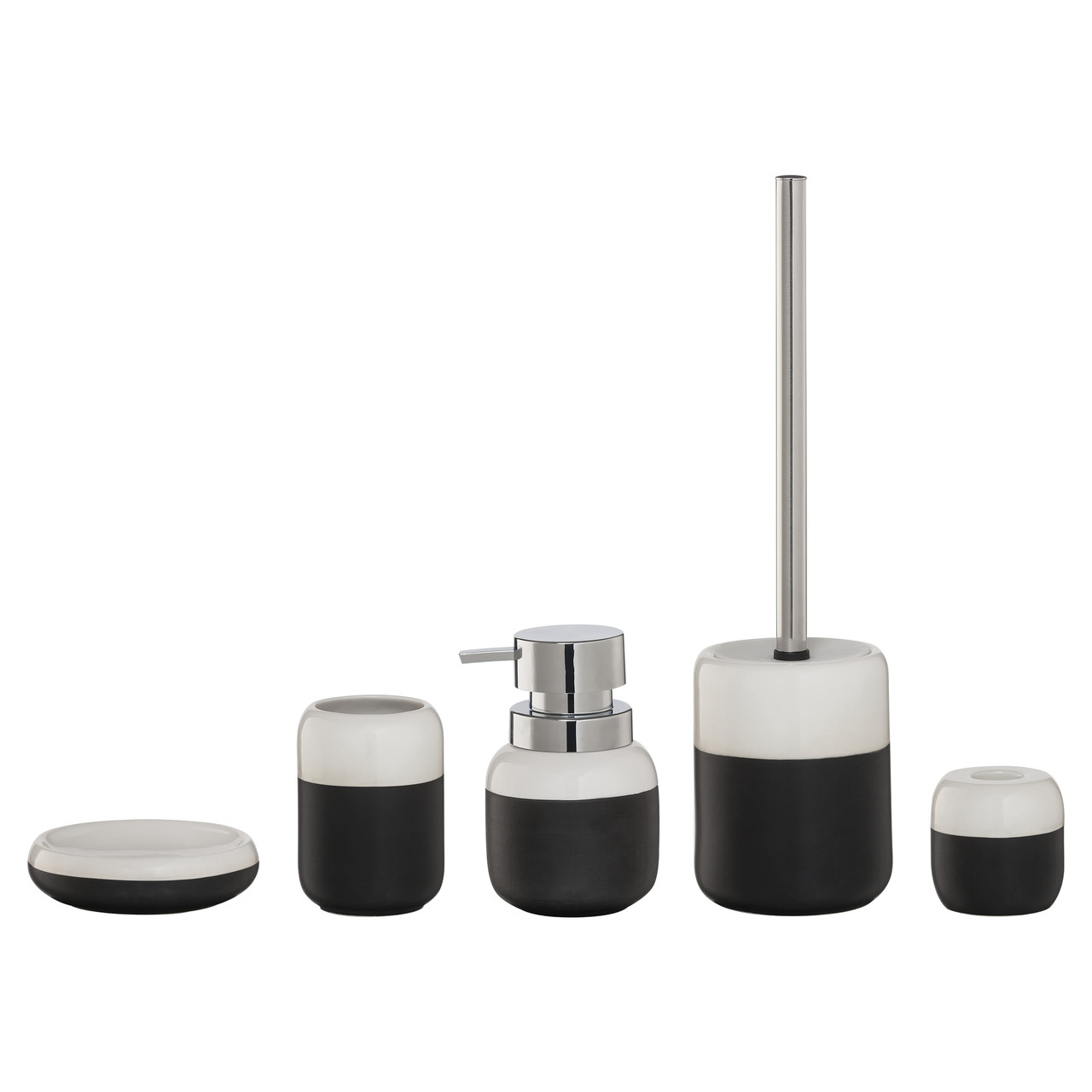 5-Piece Bathroom Accessories Set Sealskin Sphere Black And White ...