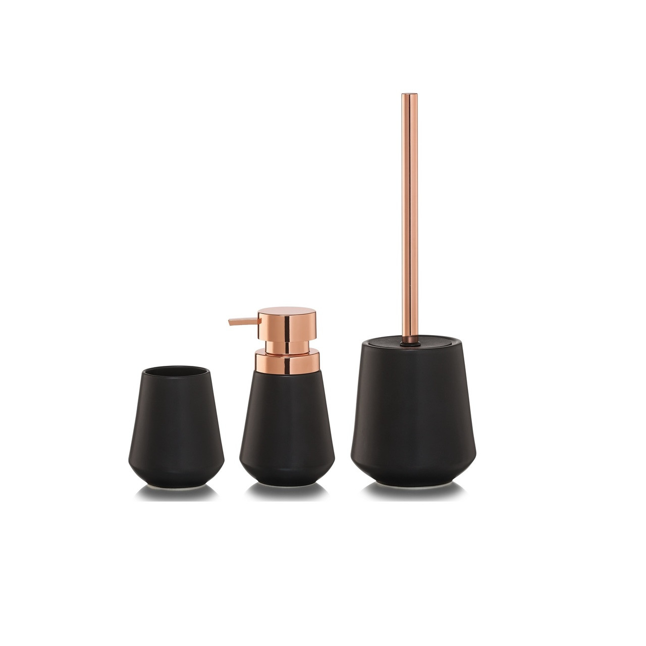 3-Piece Bathroom Accessories Set Sealskin Conical Copper Black Porcelain