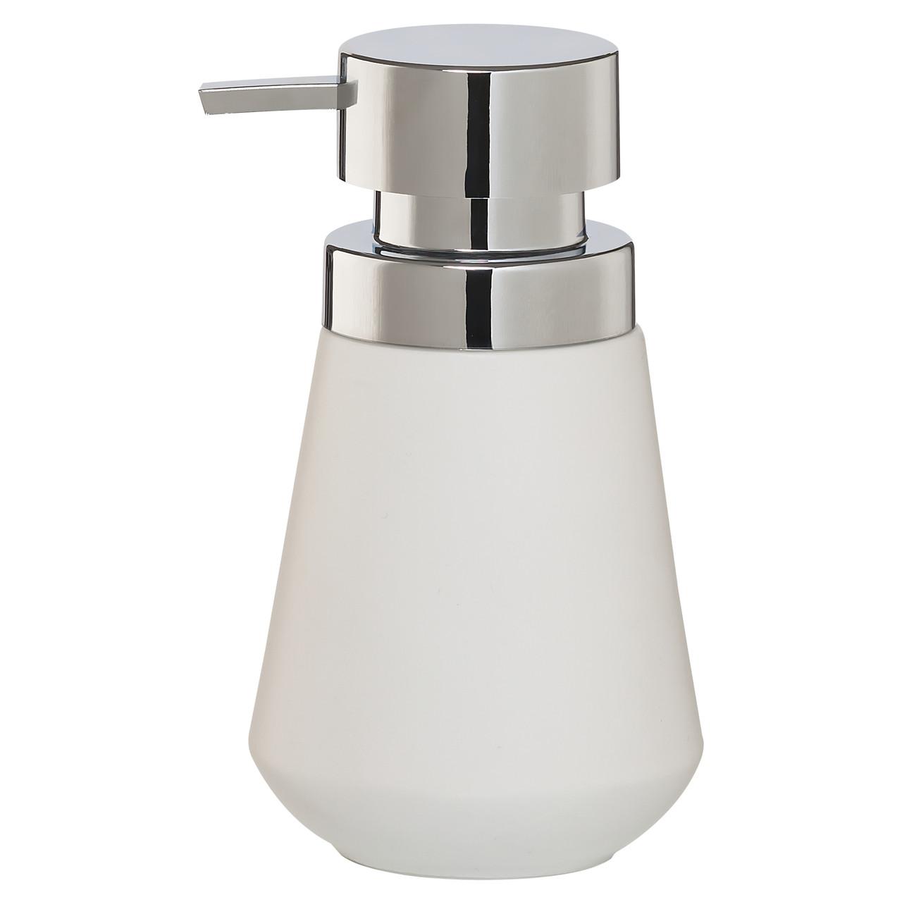 Countertop Soap Dispenser Sealskin Conical Chrome White Porcelain