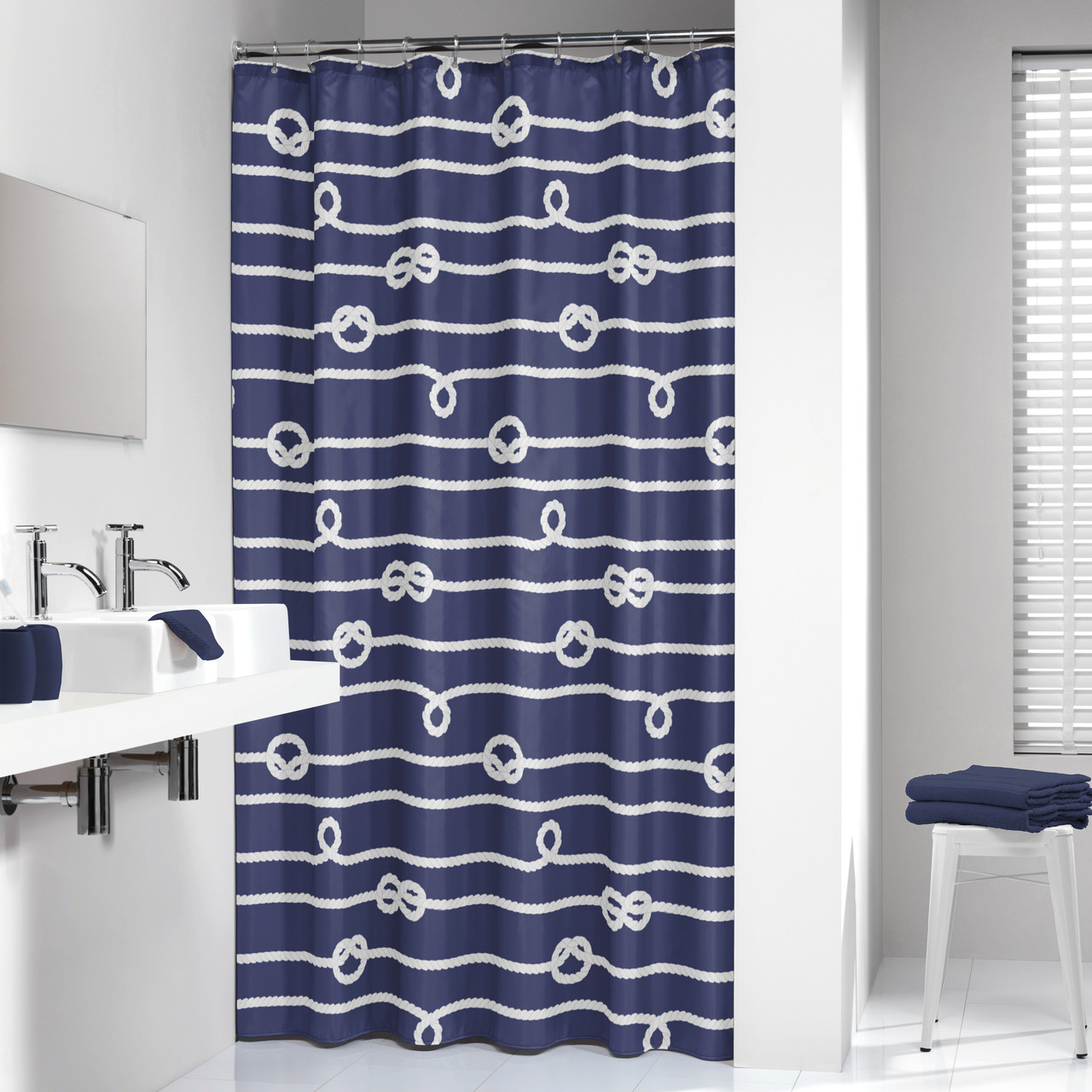 Charmant Extra Long Shower Curtain 72 X 78 Inch Sealskin Nautical Rope Blue Fabric