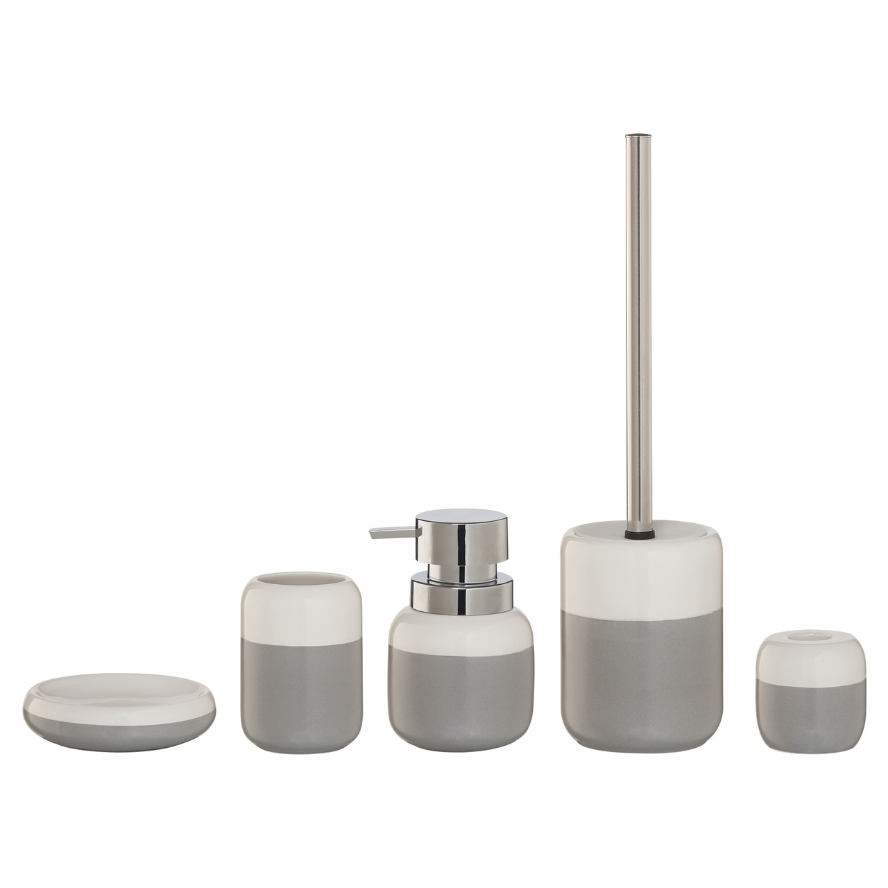 5-Piece Bathroom Accessories Set Sealskin Sphere Gray And White ...