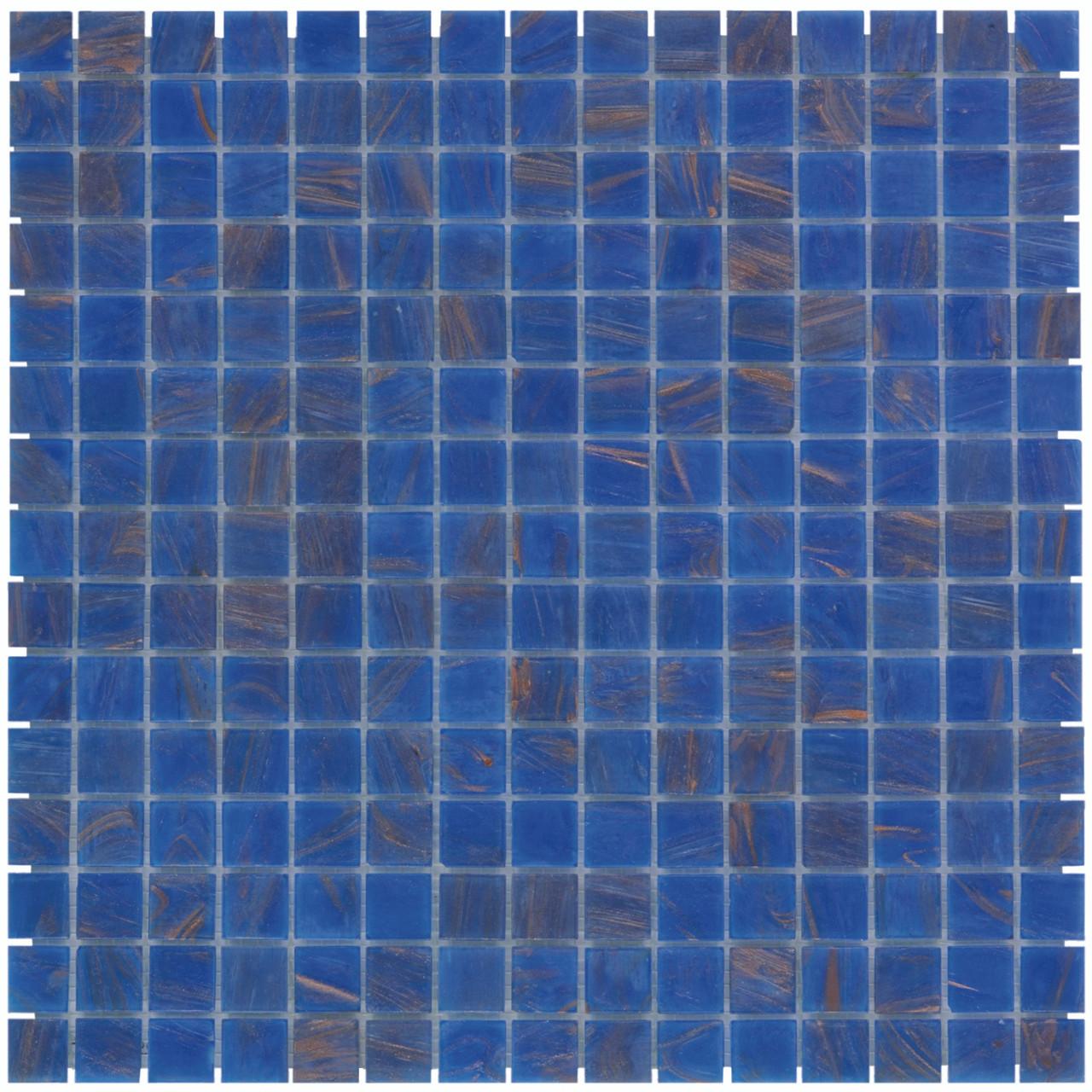 Quartz Glass Mosaic Tile Sheet Amsterdam Blue Gold Dust, Box 11.2 sq ...